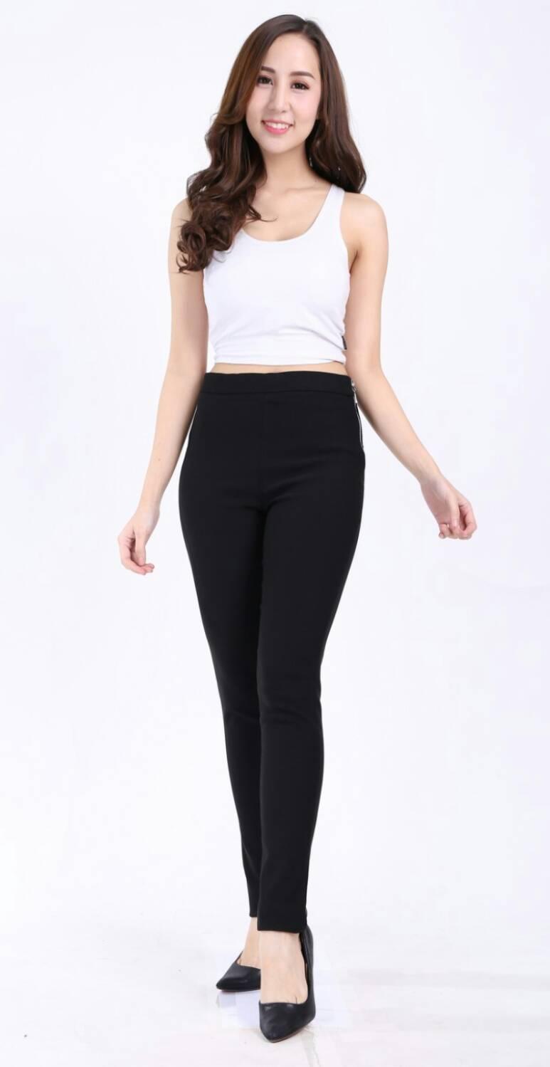 กางเกงสกินนี่(skinny) เอวสูงซิปข้าง เนื้อดี # L สีดำ