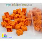 BRT022OR ตัวต่ออิสระสีส้ม ขนาด 2x2 ปุ่ม น้ำหนัก 100 กรัม