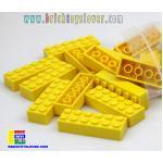 BRT004Y ตัวต่ออิสระสีเหลืองขนาด 2x6 ปุ่ม น้ำหนัก 100 กรัมในถุงพลาสติกใส