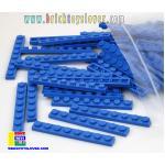 BRI004BL ตัวต่ออิสระแผ่นบางสีน้ำเงิน ขนาด 1x8 ปุ่ม น้ำหนัก 100 กรัมในถุงพลาสติกใส