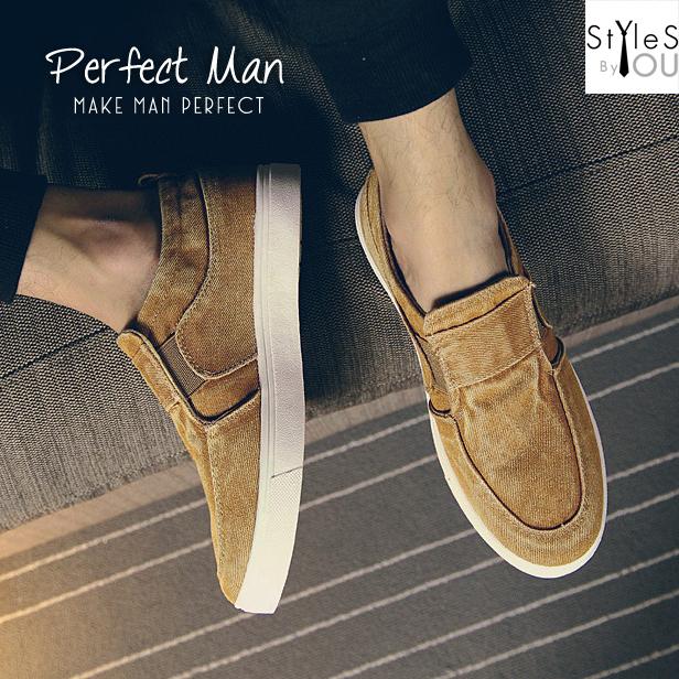 รองเท้าผ้าใบแฟชั่นผู้ชาย วัสดุทำจากยีนส์ฟอก มี 4 สี พร้อมส่ง
