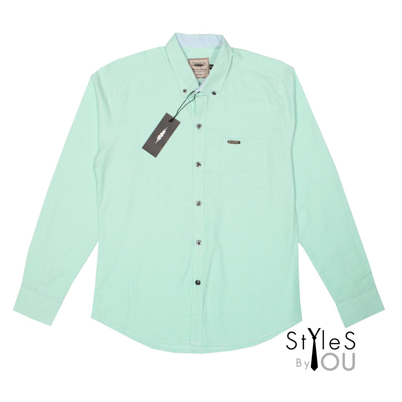 เสื้อเชิ้ต แฟชั่น สีพื้น สีเขียวมิ้น Pastel Shirt แขนสั้นและแขนยาว