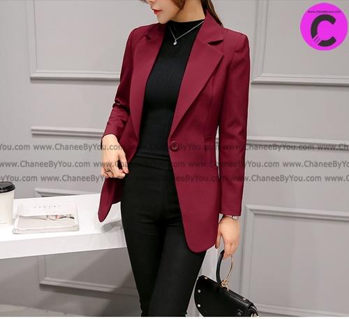 เสื้อสูทมาใหม่ตัวยาวมีซับใน กระเป๋าจริง สีแดงเลือดหมู / พร้อมส่ง