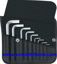 PB Swiss Tool พีบีสวิสทูล รุ่น PB-213Z-K ประแจหกเหลี่ยมแบบสั้นชุด (นิ้ว) บรรจุซองหนัง Hex key L-wrench sets for hexagon socket screws,INCH size