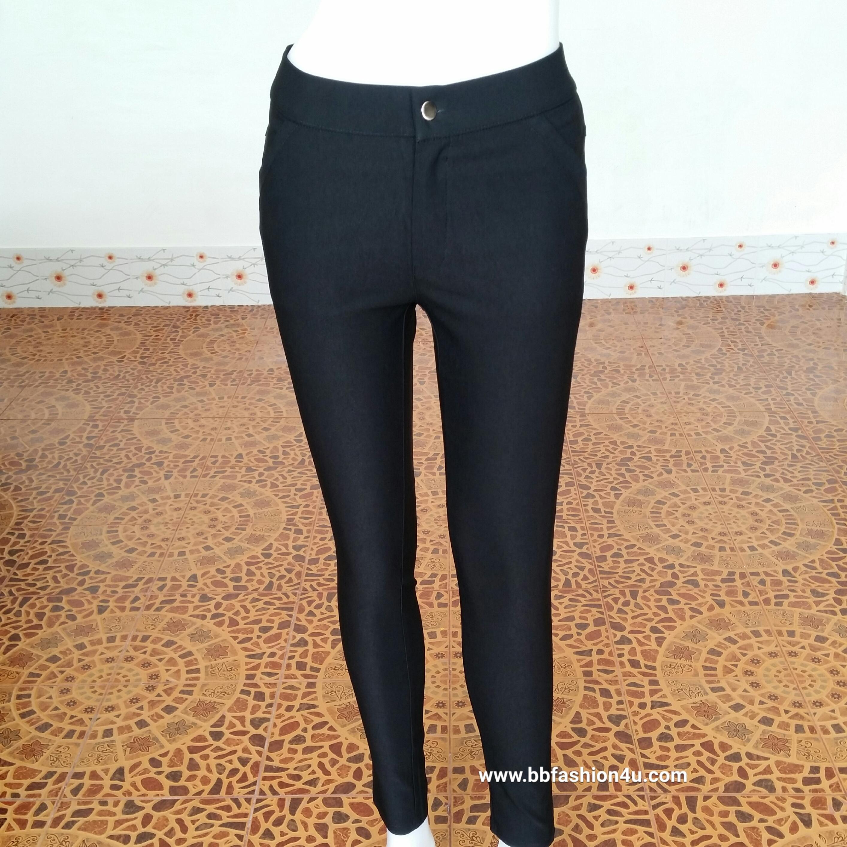 กางเกงสกินนี่(skinny) เนื้อดีไม่เป็นขนหลังใช้ # L สีดำ