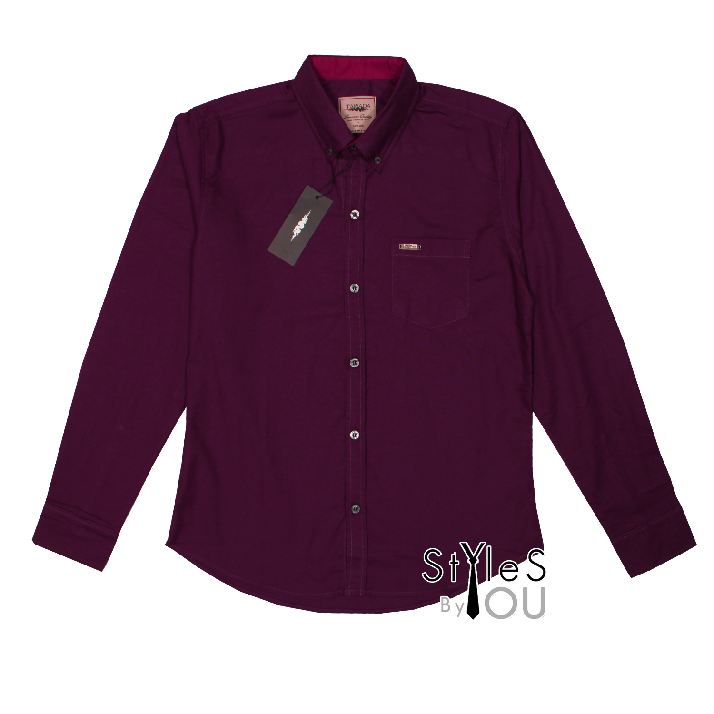 เสื้อเชิ้ต แฟชั่น สีพื้น สีม่วง Pastel Shirt แขนสั้นและแขนยาว