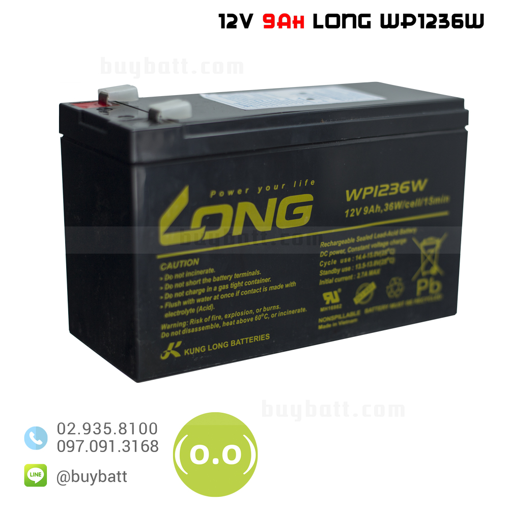 แบตเตอรี่แห้ง 12V 9Ah WP1236W LONG Battery Lead Acid SLA VRLA AGM