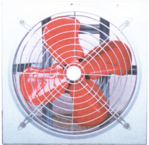 พัดลมระบายอากาศ แบบติดผนัง รุ่น ตะแกรงหน้าหลัง เคพีเอ็ม ขนาด 12 นิ้ว (ใบแดง)