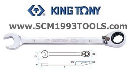 KINGTONY คิงโทนี่ รุ่น 3732 ประแจแหวนข้างปากตาย ฟรีสปีด 2 ทาง Speed Wrench