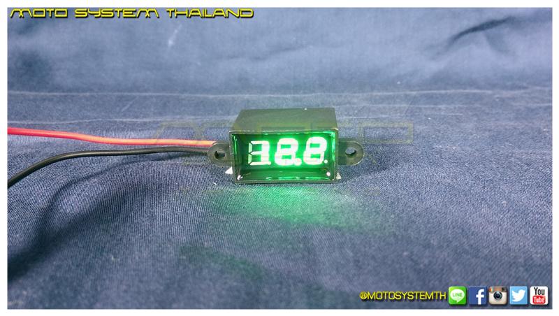 วัดโวลต์จิ๋วกันน้ำ สีเขียว / Mini Voltmeter with Waterproof [Green]