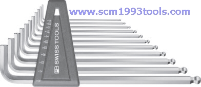 PB Swiss Tool พีบีสวิสทูล รุ่น PB212Z-LH-12 ประแจหกเหลี่ยมหัวบอลแบบยาว 12 ตัวชุด นิ้ว/หุน Ball point hex key L-wrench sets for hexagon socket screws