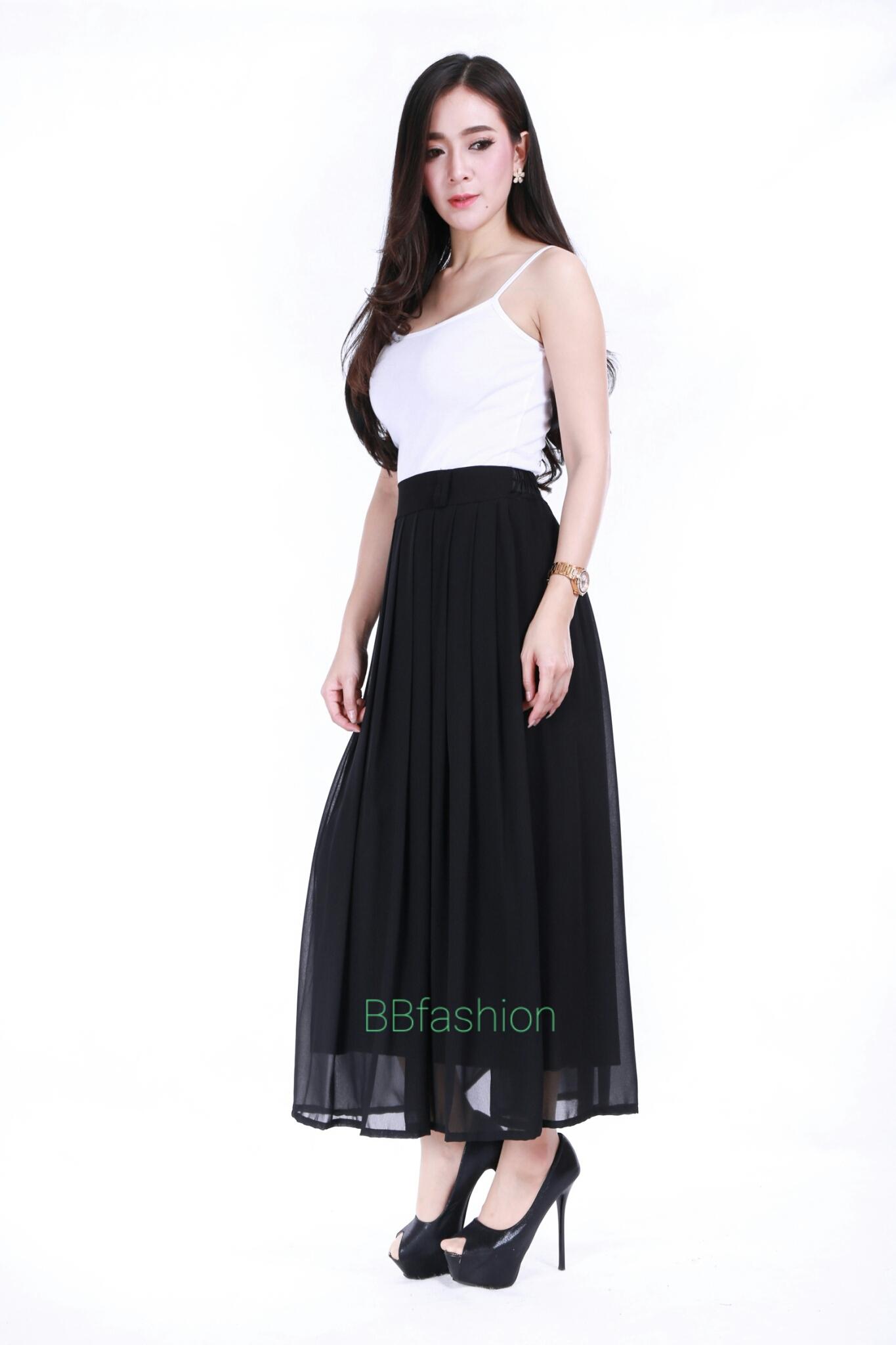 กระโปรงชีฟอง ยาว ทวิชหน้า (ไม่มีกระเป๋า) ขนาด Free size สีดำ ส่งฟรี!!