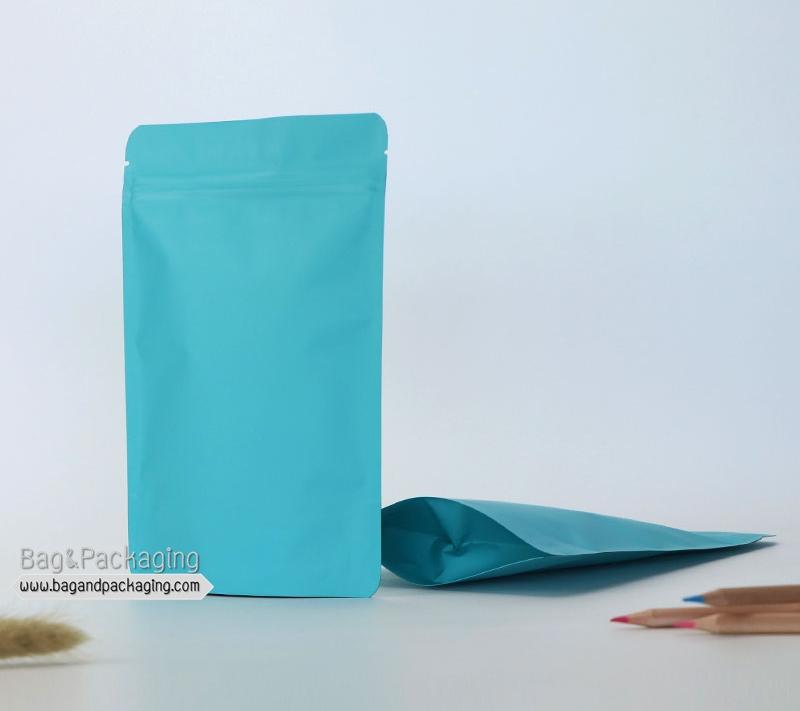 ถุงซิปล็อคก้นตั้ง สีฟ้าด้าน