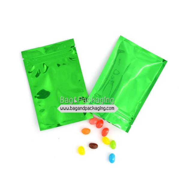 ถุงซิปล็อกสีเขียวเงา ทึบ 2 ด้าน