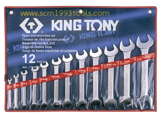 KINGTONY คิงโทนี่ 1112SR ประแจปากตาย 12 ตัวชุด 1/4-1.1/4 นิ้ว European Type Open End Wrench Set