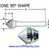 เหล็กเจียรแม่พิมพ์ คาไบด์ SK-Type ทรง Cone 90° Shape ยี่ห้อ TAGBUR ญี่ปุ่น คุณภาพดี