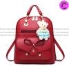 กระเป๋าเป้พวงกุญแจหมี หนัง PU ปรับสายให้สะพายไหล่ สะพายข้างได้ สีแดงหน้าโบว์ / พร้อมส่ง