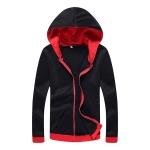 เสื้อแขนยาวสีทึบพร้อมหมวกคลุมทำด้วยผ้าโพลีเอสเตอร์ | สีแดง+ดำ