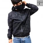 &#x2642 เสื้อกันหนาวลายพราง เสื้อคลุมมีฮูดลายพรางสีดำ เสื้อแจ็คแก็ตมีฮูดลายพรางสีดำทรงสวยกระชับ มี 5 size