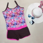 ชุดว่ายน้ำคนอ้วนแนวสปอร์ตเสื้อกล้ามสีชมพู
