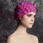 หมวกว่ายน้ำดอกไม้สีบานเย็น