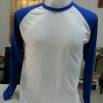 เสื้อเปล่า TK : ขาวแขนยาวน้ำเงิน