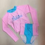 ชุดว่ายน้ำทูพีชแขนยาวสีชมพูฟ้าพาสเทล