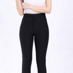 กางเกงสกินนี่(skinny) เอวสูงซิปหน้า เนื้อดี # M สีดำ