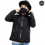 &#x2642 เสื้อกันหนาวสีดำ เสื้อคลุมมีฮูดลายสีดำ เสื้อแจ็คแก็ตมีฮูดสีดำทรงปล่อยชายเสื้อ แต่งซิปที่ปลายแขนเพิ่มความเท่อ