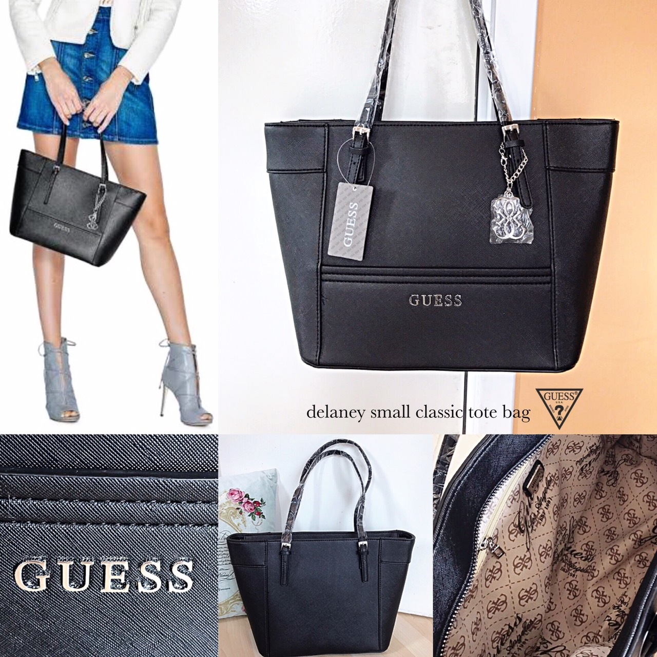 82018307d02e GUESS Delaney Small Classic black Tote bag - sshopcenter   Inspired by  LnwShop.com