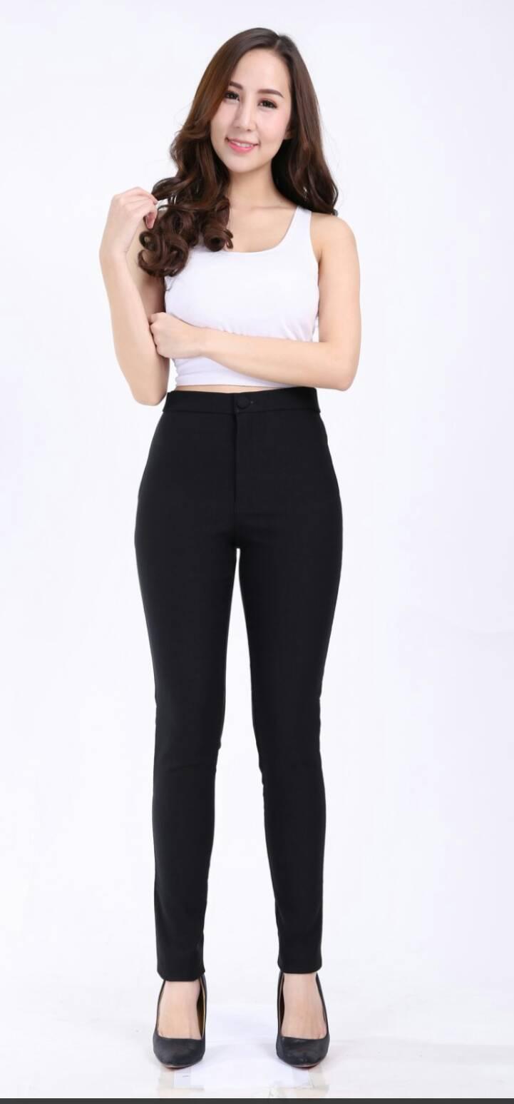 กางเกงสกินนี่(skinny) เอวสูงซิปหน้า เนื้อดี # XL สีดำ