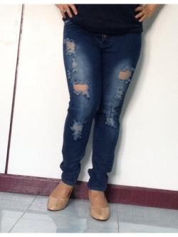 """No.40 กางเกงยีนส์ไซส์ใหญ่ เอว 34,38,42"""" ผ้ายืด แต่งขาดสวยมากค่ะ เสื้อผ้าคนอ้วน สาวอวบ บิ๊กไซส์"""