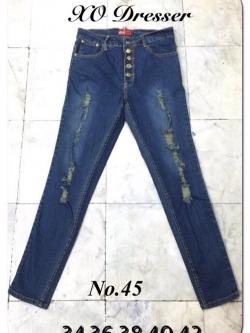 """No.45 กางเกงยีนส์ไซส์ใหญ่ เอว 34,36,38,40,42"""" กระดุมหน้า ผ้ายืด แต่งขาดเท่ๆ เสื้อผ้าคนอ้วน สาวอวบ"""