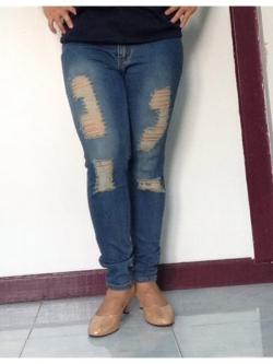 """No.23 กางเกงยีนส์ไซส์ใหญ่ เอว 34,40"""" ซิปหน้า ผ้ายืด แต่งขาดเบาๆ สีเขัมสวยค่ะ เสื้อผ้าคนอ้วน สาวอวบ"""