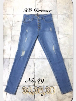 """No.49 กางเกงยีนส์ไซส์ใหญ่ เอว 34,36,38"""" ซิปหน้า ผ้ายืด แต่งขาดเบาๆ สียีนส์ฟอกสวยค่ะ เสื้อผ้าคนอ้วน สาวอวบ"""